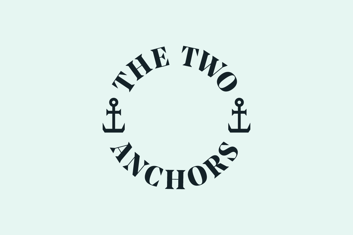 The Two Anchors Seafood Fish Brand Graphic Design Photography Shellfish Logo Ogmore-by-Sea Wales Type Typography